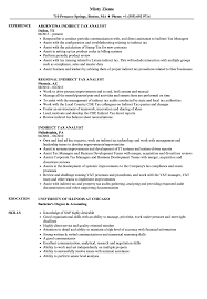 Download Indirect Tax Analyst Resume Sample as Image file