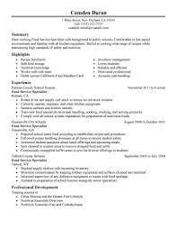 Cool Food Handler Description Resume Images Entry Level Resume