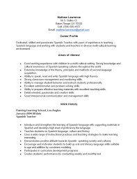 spanish resume template free spanish teacher resume template sample ms word  free