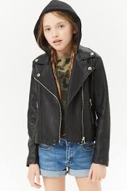 girls faux leather hooded moto jacket kids