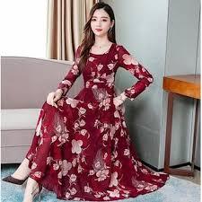 Buy Raabta Fashion Women Maroon Printed Maxi Dress Online @ 1450 from ShopClues