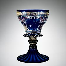 armorial goblet blown mold blown tooled enameled