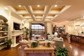 View in gallery Elegant ceiling and warm lighting gives this living space  an immaculate appearance