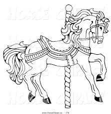 Small Picture Clip Art of a Carousel Horse Facing Right on a Spiral Pole