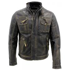 biker style motorcycle jacket distressed leather jacket