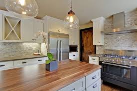 white country kitchen with butcher block. Contemporary Country Silver Travertine Marble Backsplash For White Country Kitchen With Butcher Block