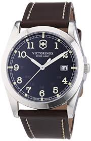 victorinox swiss army men s classic infantry quartz watch victorinox swiss army men s classic infantry quartz watch grey dial analogue display and brown leather