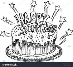 Happy Birthday Cake Drawing Brithday Cake
