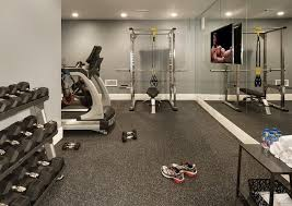 home gym lighting. Basement Gym Features A Mirrored Accent Wall Lined With Flat Panel Tv Facing Workout Equipment. Home Lighting M