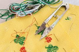 Needle Fabric And Thread Chart Embroidery Cross Stitch Kit Of Fabric Needle Thread Scissor