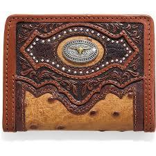 silver creek western mens wallet leather bifold cattle driven concho tan e80445