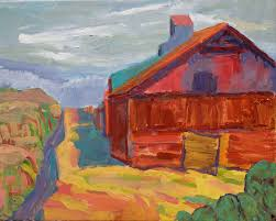 kathleen elsey painting work stormy old barn purina dog chow factory