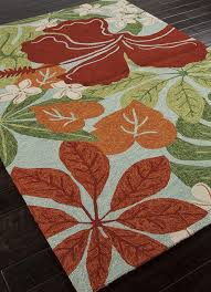 picture of jaipur coastal indoor outdoor fl pattern polypropylene green red rug ci20