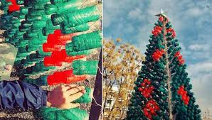 Christmas Decorations Made Out Of Plastic Bottles DIY 100 Christmas Trees Made of Recycled Bottles Water stories 78