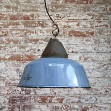 blue gray enamel cast iron vintage industrial factory pendant lights 25x for at 1stdibs