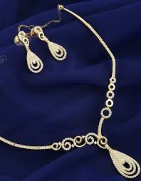 gold tone exclusive diamond necklace studded with american diamonds simple jewellery set loading zoom