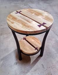 custom made live edge double round side table