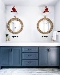 dark blue dual washstand with round