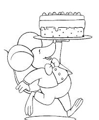 Kleurplaat Verjaardag Muis Met Taart Handwriting Drawing