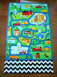 city road childrens rug play mat for children activity and town fold up roll car