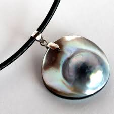 blue grey mabe pearl and sterling silver pendant