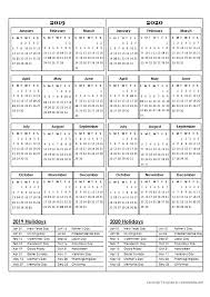 Free Year Calendar 2020 Two Year Calendar Template 2019 And 2020 Free Printable