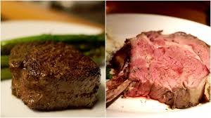 prime rib and ribeye cuts of beef