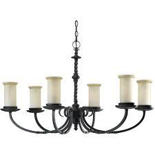 progress lighting santiago collection 6 light forged black chandelier with jasmine mist glass