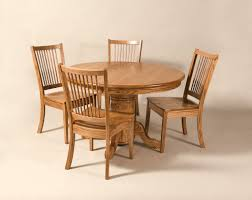 small solid wood kitchen table expandable round pedestal dining table with 4 wood dining chairs