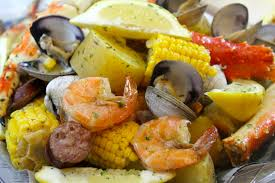 seafood boil with king crab and sausage