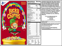 Lucky Charms Cereal Food Label Lucky Charms Cereal Nutrition