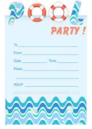 Free Pool Party Invitation Template Printable Childrens