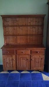 wooden dresser 3 cupboards and drawers with shelving above