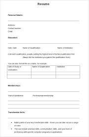 Empty Resume Template Word Gentileforda Com