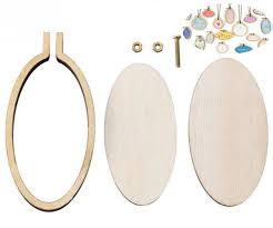 natural wooden mini embroidery jewelry tiny hoops oval pendants frame set rings diy cross stitch needle