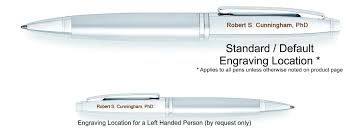 engraving location on pen