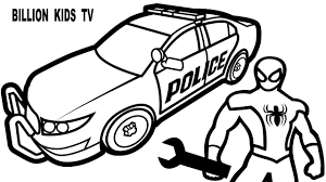 Small Picture Spiderman Repair New Police Cars Coloring Pages For Kids Coloring
