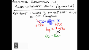 rewriting equations in slope intercept form