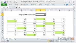 Multiples Of Numbers Chart Excel Formula Highlight Multiples Of Specific Value Exceljet