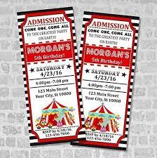 Carnival Birthday Invitations Circus Ticket Invitations Circus Carnival Birthday Party Ticket Invitation Custom Big Top Circus Party Tickets Vintage Style Tickets Matte Finish