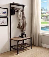 Metal Entryway Bench With Coat Rack Amazon Black Metal And Bonded Leather Entryway Shoe Bench With 15