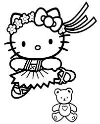 Hello kitty wants to tell you happy birthday and she wanted to do it in a special way. Hello Kitty With Teddy Bear Free Coloring Library