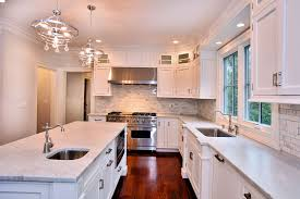kitchen lighting chandelier. Beauteous Kitchen Layout Design With Wooden Flooring Also White Wall Paint And Mounted Cabinetry Lighting Chandelier
