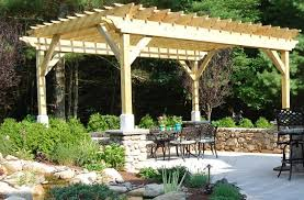 wood shade structure pergola and patio cover the gardeners kingston ma