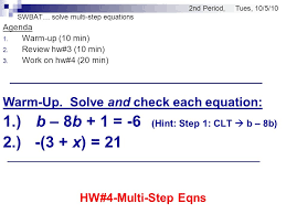 swbat solve multi step equations