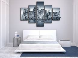 5 pieces oil painting canvas prints landscape new york city home