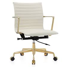 white leather office chair.  Chair Call To Order  Marquis White Leather  Gold Metal Modern Office Chair And P