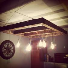 custom made reclaimed wood edison bulb chandelier