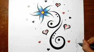 Small Picture Designing a Cool Flower Tattoo Design with Hearts YouTube