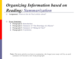 critical thinking organization strategies using reading skills to organizing information based on reading summarization assignment what are the da vinci articles about